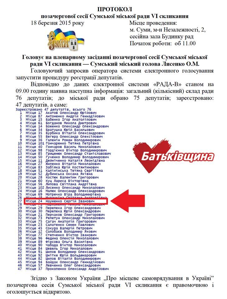 Протокол засідання 18 березня, да зафіксовано факт голосування карткою Сергія Науменка.